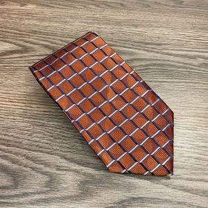 Jos A Bank Signature Copper & Navy Check Tie